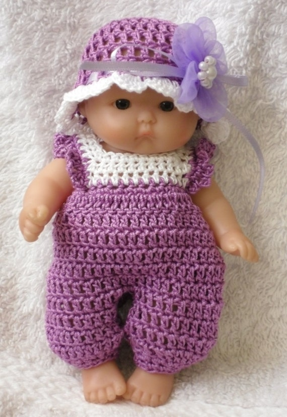 Crochet pattern for Berenguer 5 inch baby doll dungarees and