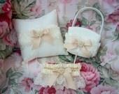 Wedding Ring Pillow and Flower Girl Basket Set Ivory Shabby Chic Bridal Garter Set