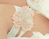 Wedding Garter, Bridal Garter  Set Toss Garter too, Blush or Dusty Rose Ivory with Rhinestones and Pearls  Custom Wedding colors