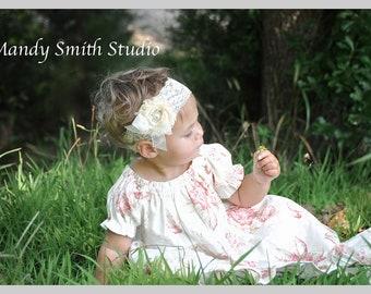 Baby Headband ..  Vintage Lace Headband ..  .. Photo Prop .. Shabby Chic .. Victorian Lace ..  Flower Girl ..