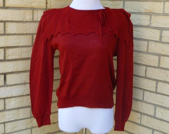 1980s Sweater Brick Red Bib Collar Bow Neck Preppy Carrer Langtry Too Womens Vintage Medium
