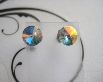 29ss Swarovski Rivoli Rhinestone Crystal AB Post Earrings 1 Pair