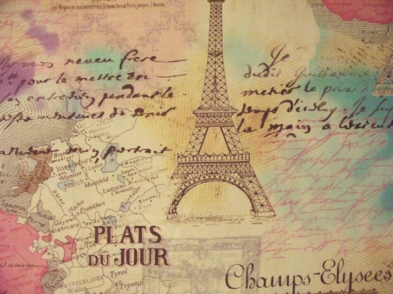 Vintage Paris Eiffel Tower Pink Cotton Fabric Fat Quarter Or