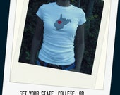 Gift for Women and teens.... State T- Shirt Where I Come From T for Women or teen with navy and cream chevron applique