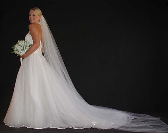 """Veil - wedding veil - Cathedral length 108"""" long  wedding veil with scartted pearls with plain edging."""