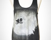 E.T. The Movie Black Singlet Tank Top Sleeveless Vintage Hollywood T-Shirt Size S
