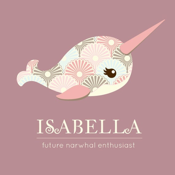 Girl Narwhal Print File Unicorn Of The Sea Personalized