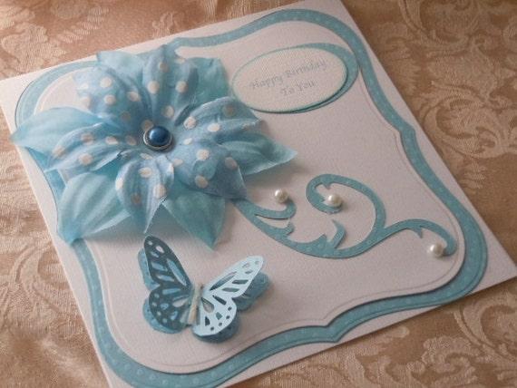 Handmade Birthday Card blue with flourish
