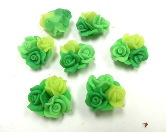 10 Fimo Polymer Clay Pink Green Flower Fimo Beads Bouquet  25mm