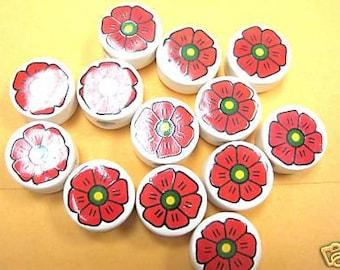 New 20 Red Round Flowers Ceramic Beads