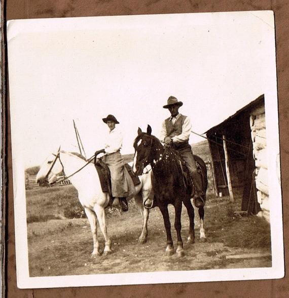 Ride In Style - Missionaries on Horseback in Northern Alberta - vintage photo circa 1920
