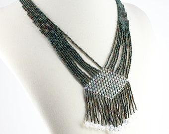 Fringe Necklace - Beadwork Jewelry - Crystal Necklace - Green Jewelry - OOAK Necklace - Seed Bead Jewelry - Statement Necklace