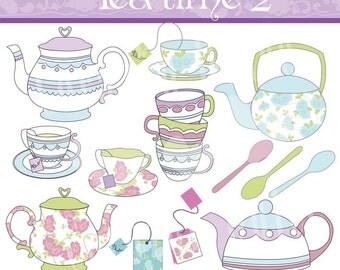 INSTANT DOWNLOAD Tea Time 2 Digital Clip Art Set - Personal and Commercial Use Clip Art: 13 originals design elements