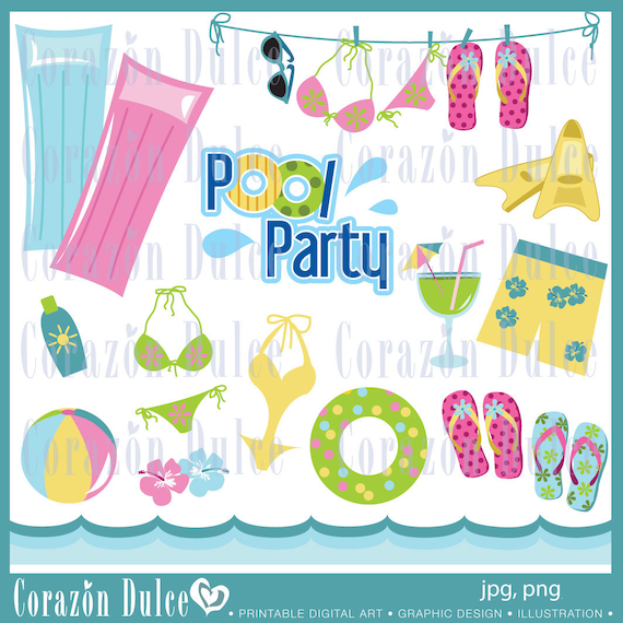 INSTANT DOWNLOAD Pool party - Personal and Commercial Use-
