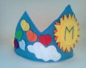 You Are My Sunshine Sun Rainbow Hearts Clouds Blue Sky Felt Birthday Crown