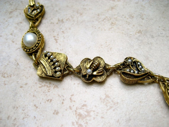 Vintage Signed ART Bracelet Crown Bee Heart Flower Faux Pearl Frosted Cabochon Link