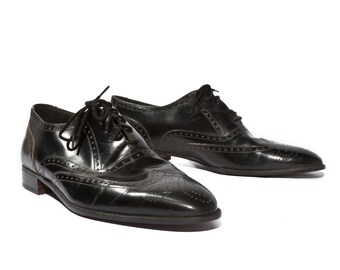 9.5 N | Vintage Stacy Adams Madison Shoe Oxfords Black Leather Cap Toe Brogues