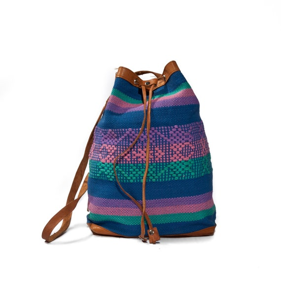 Vintage Woven Cotton Multi Colored Bucket Bag with Leather Accents