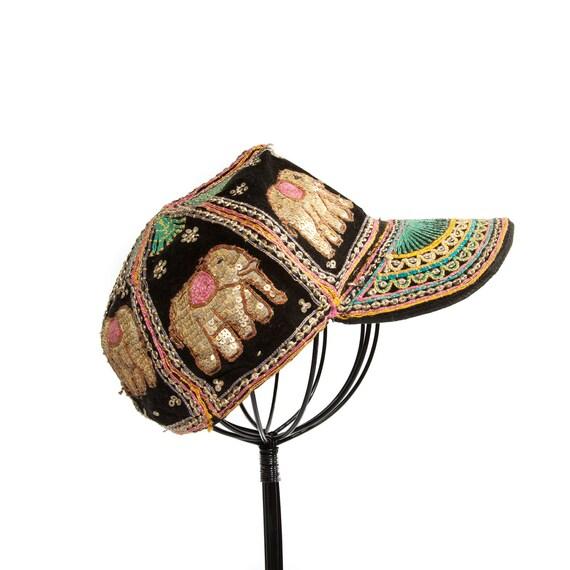 Vintage Gold Sequin Elephant Cap Multi-Colored Ethnic Hat
