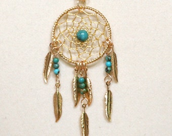 Dream Catcher Turquoise & Gold Dreamcatcher Necklace with Feathers