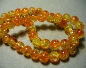Crackle Glass Beads Orange and Gold 8MM