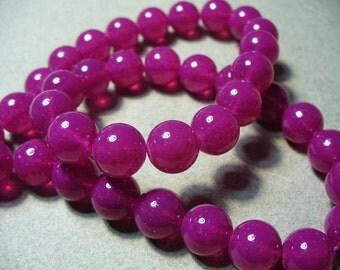 Jade Glass Beads Fuchsia Round 10MM