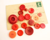 Pretty Red Vintage Button Collection - Retro Buttons - Sewing Supplies - Pressed Buttons - Button Lot