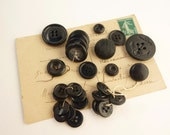 Black and Grey Vintage Button Collection - Black Buttons - Button Lot - Retro Button - Vintage Supply - Sewing Supplies