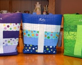 Customized handmade quilted tote bag - your choice of color