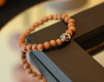 Skull bracelet, Wooden bracelet, Silver Skull with wooden beads, Gift for her, Stretch bracelet