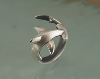hammerhead  shark ring , silver.  pick your finish and eye color