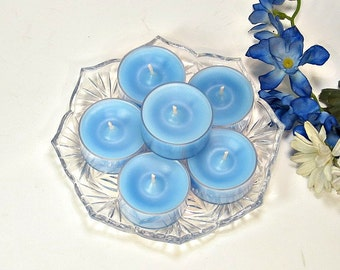 Tealight candles Freesia scent 6 pack light blue