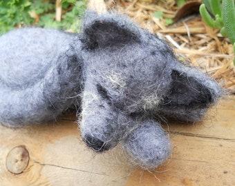 Sleeping Gray Wolf / Needle Felted Wool Waldorf Animal Soft Toy / Woodland Wildlife Figurine