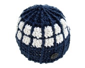 Sci-Fi Crochet Beanie, TARDIS Doctor Who Inspired Accessory, Upcycled Recycled Clothing, Charity Donation, Blue White Fantasy Geekery