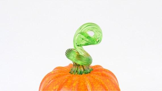 Halloween Decoration Orange Glass Pumpkin Halloween Decor Bright Colorful Kitchen Art by AvolieGlass