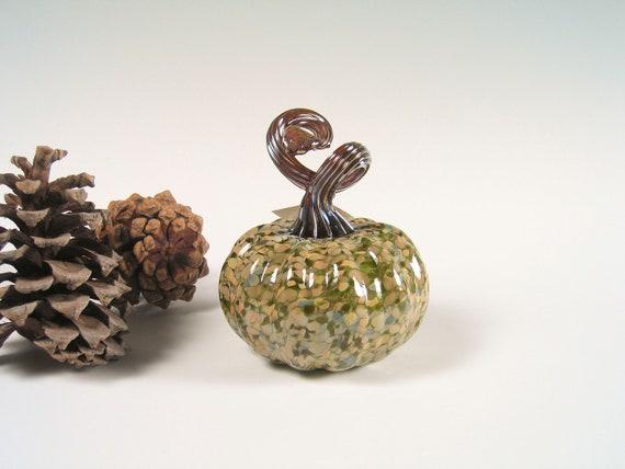 Handblown Glass Pumpkin Centerpiece Thanksgiving Decorations Sculpture Glass Art Forest Green Woodland tagt