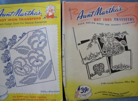 Vintage Aunt Martha's Embroidery Patterns Pansies Southern Belle Flowers Hot Iron Transfer