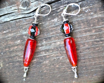 Red and Black Earrings sparkling colorful jewelry