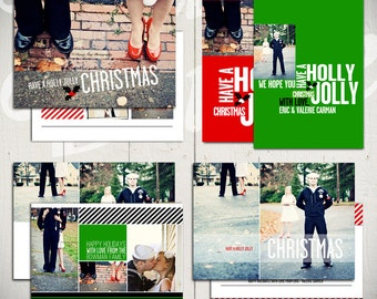 Christmas Card Templates: Holly Jolly - Set of Four 5x7 Holiday Card Templates for Photographers