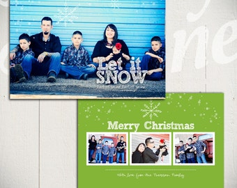 Christmas Card Template: Let It Snow D - 5x7 Holiday Card Template for Photographers