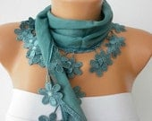 Spring  - Teal  Scarf  - Cotton  Scarf -  Cowl with Lace Edge   -