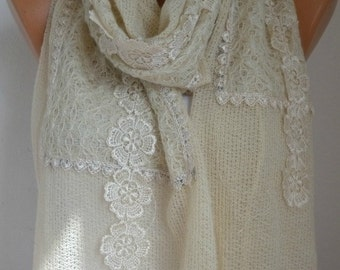Ivory Knitted Lace Scarf Winter Shawl Valentine's Gift Cowl Bridesmaid Gift Bridal Accessories Gift Ideas For Her Women Fashion Accessories