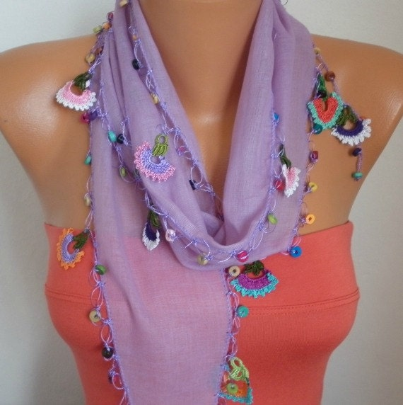 ON SALE - Spring Celebrations Lilac Scarf  Summer Scarf Shawl - Cotton Weddings Scarves - Cowl with Lace Edge - Lilac