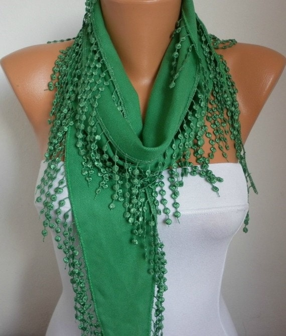 ON SALE - St. Patrick's Day Pigment Green Scarf  -  Pashmina Scarf  -  Cowl Scarf with Lace Edge - fatwoman