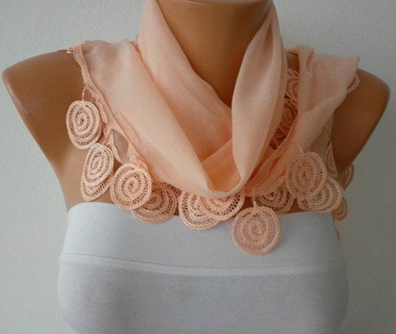 Salmon  Scarf  Fall Fashion Cowl Scarf Cotton  Scarf Gift Ideas For Her Women Fashion Accessories