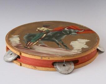 Tambourine Instrament Hand Painted with Spanish Matador and Bull - Hand Held Musical Instrument