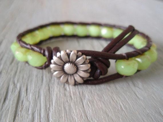 "Boho leather wrap bracelet, ""Country Girl"", Shabby chic, opal lime green, celadon, silver daisy flower, bohemian chic"