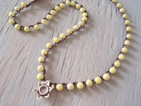 Beachy crochet necklace 'Endless Summer- Peridot Jasper' semi precious stone, lemon lime green, rustic Thai silver sun, beachy bohemian