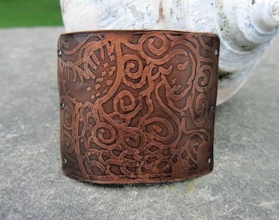 Mermaid Hand Drawn Copper Cuff Focal