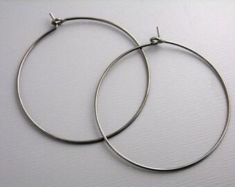 HOOP-GMTL-WINE-35MM - 35mm Brass Hoop Earrings in Gunmetal...20 pcs (10 pairs)